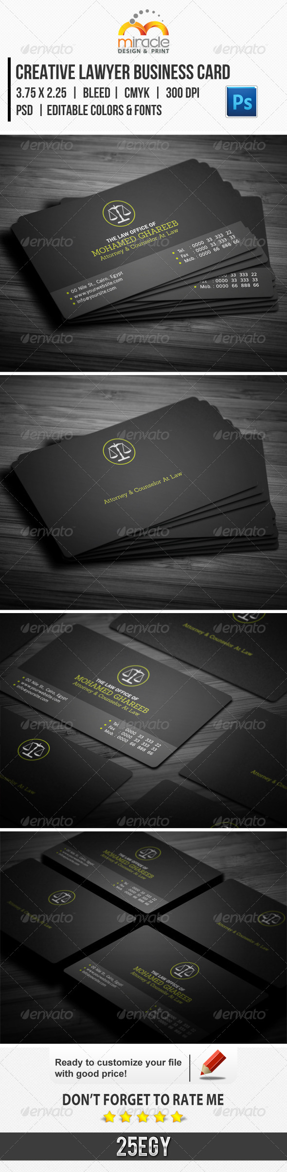 Creative Lawyer Business Card - Industry Specific Business Cards