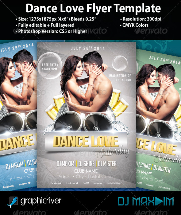 GraphicRiver Dance Love Flyer Template 5346076