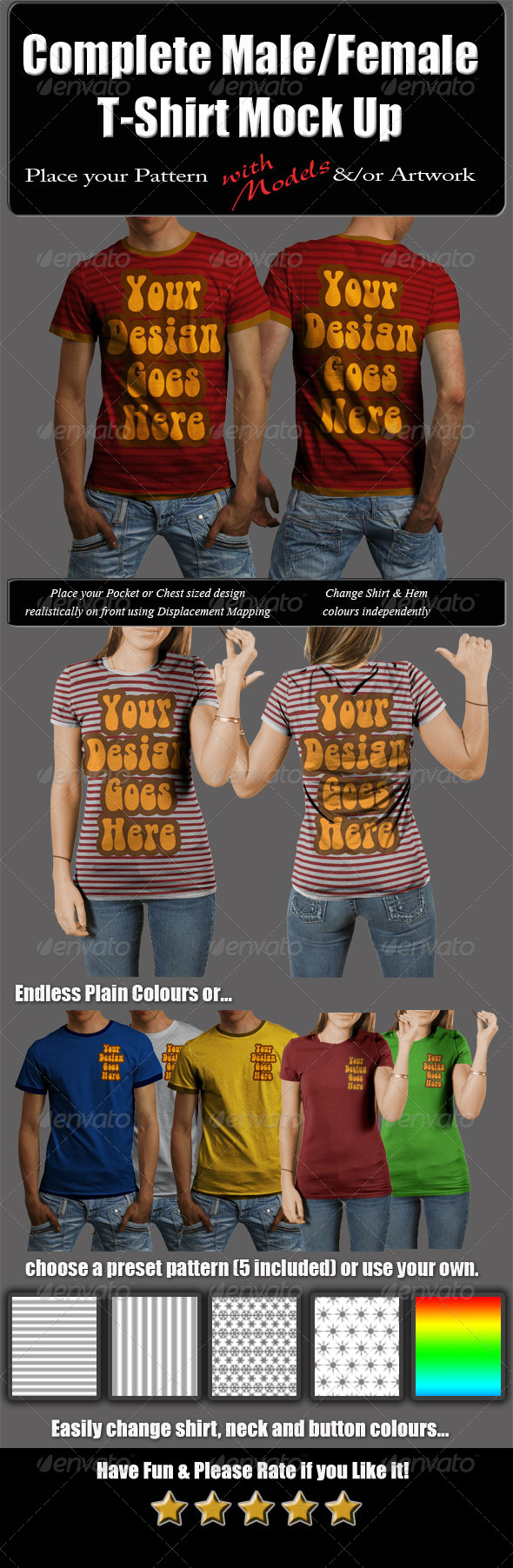 Complete Male & Female T-Shirt Mock Up with Model - T-shirts Apparel