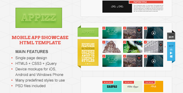 ThemeForest Appizz Mobile App Showcase HTML Template 4902563