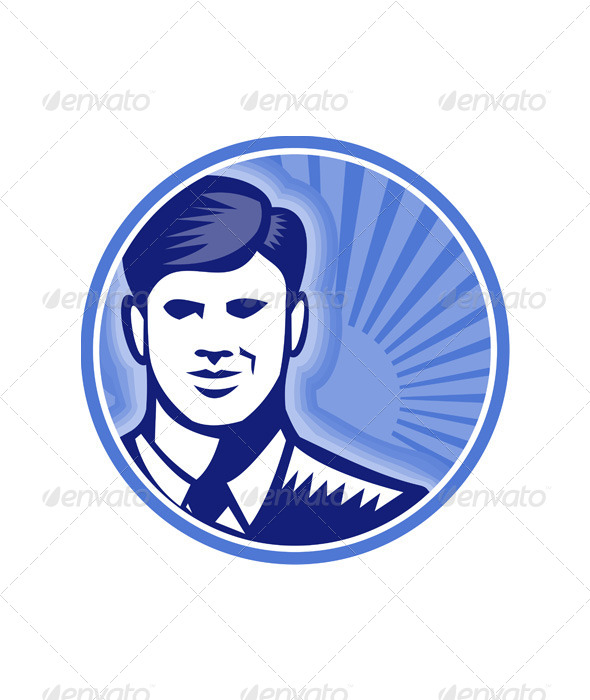 GraphicRiver Businessman Face Front Smiling Woodcut 5347539