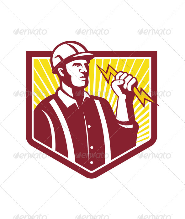 GraphicRiver Electrician Holding Lightning Bolt Retro 5347583
