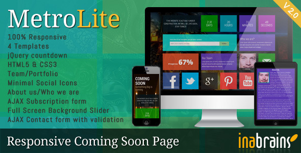 MetroLite - Responsive Coming Soon Template - Under Construction Specialty Pages