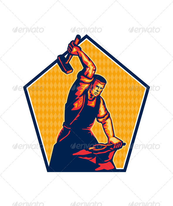 GraphicRiver Blacksmith Worker Striking Sledgehammer Anvil Retr 5348346