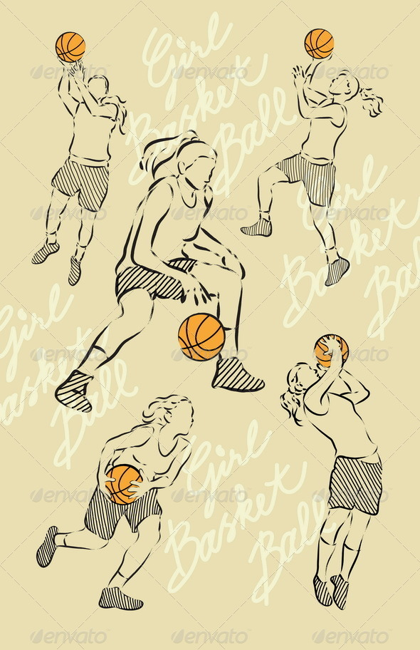 Girl Basket Ball Sketches - Sports/Activity Conceptual