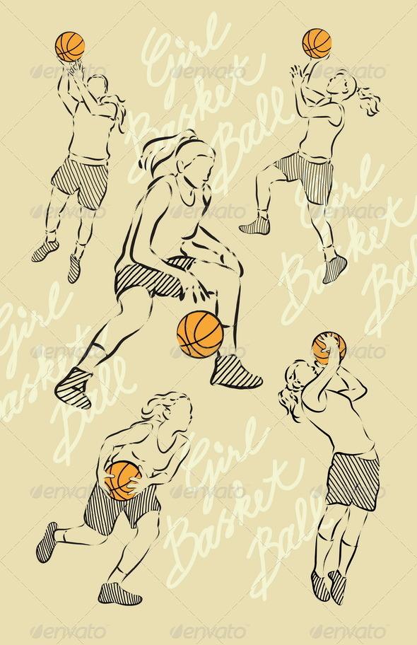 GraphicRiver Girl Basket Ball Sketches 5348355