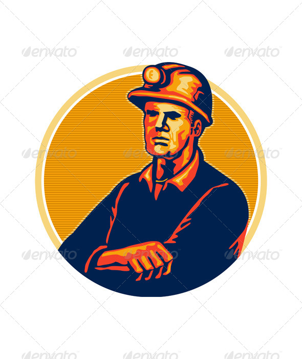 GraphicRiver Coal Miner Arms Folded Retro 5348360