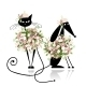 Glamor Cat and Dog in Floral Clothes - GraphicRiver Item for Sale