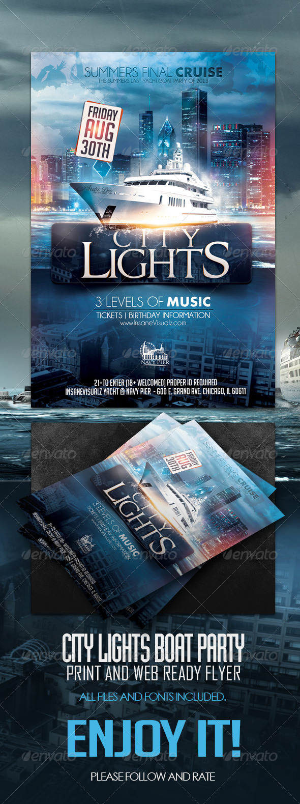 GraphicRiver City Lights Boat Party 5295936