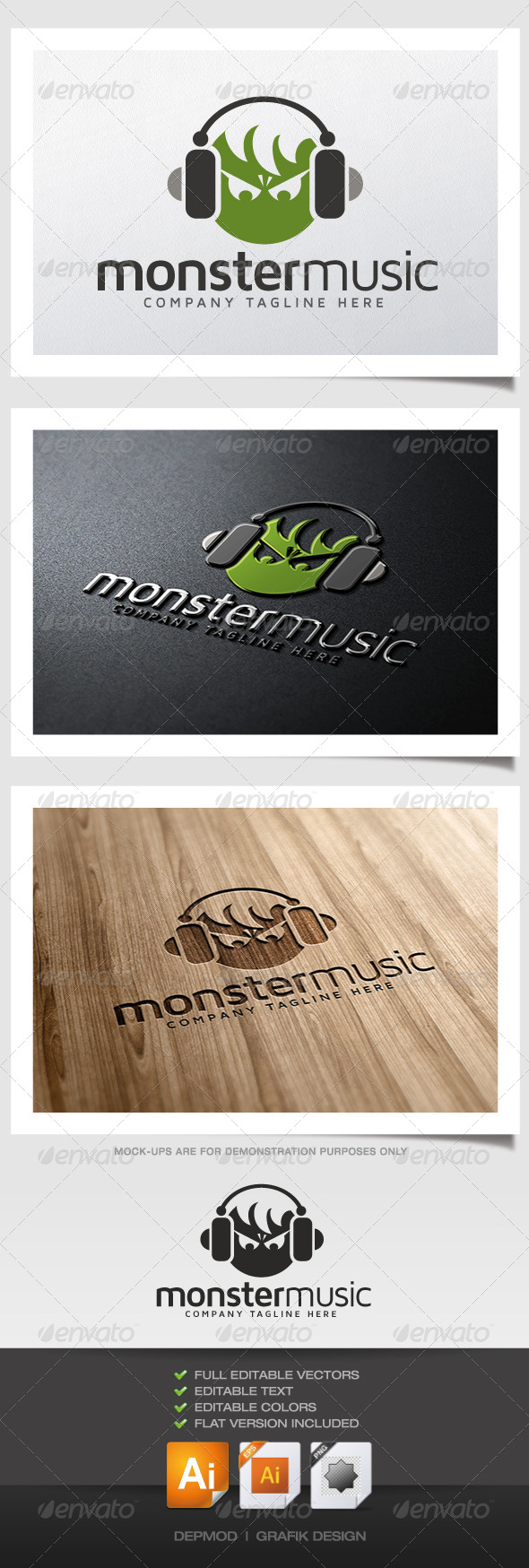 Monster Music Logo - Animals Logo Templates