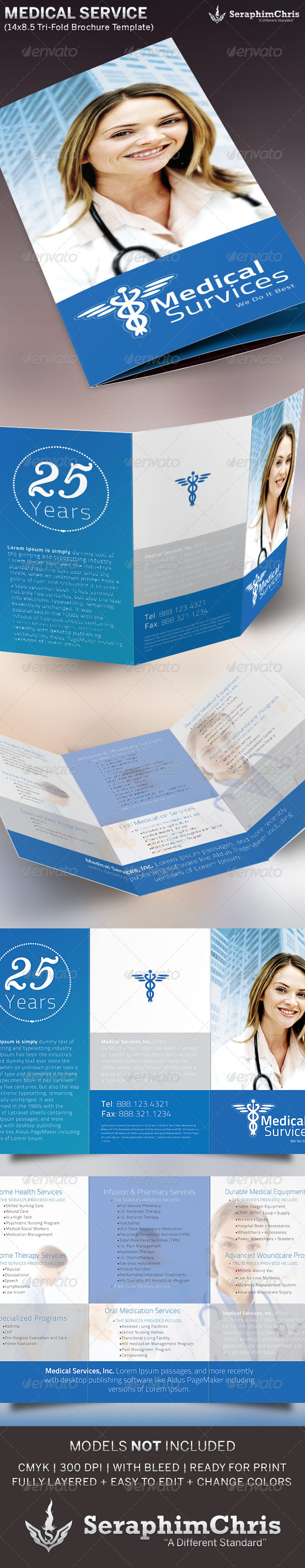 GraphicRiver Medical Service Tri-Fold Brochure Template 5352301