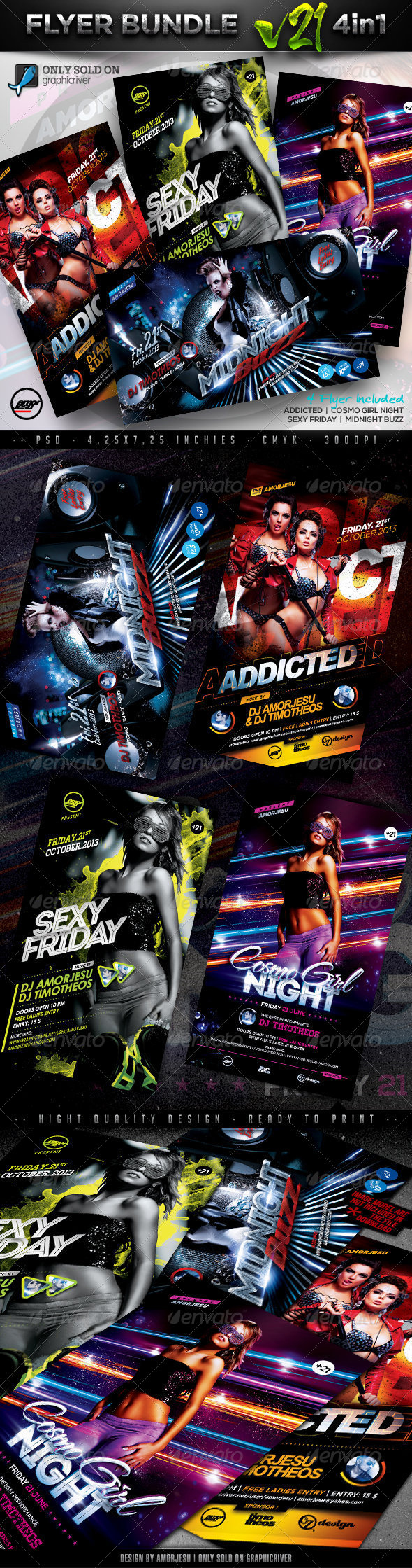 Flyer Bundle Vol21 - 4 in 1 - Clubs & Parties Events