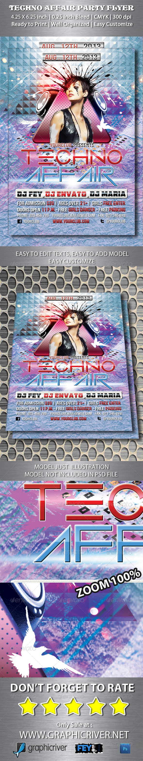 GraphicRiver Techno Affair Party Flyer 5352521