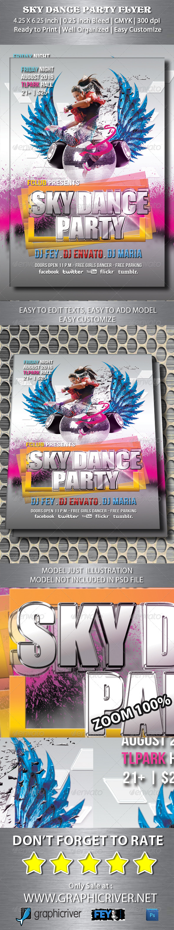 GraphicRiver Sky Dance Party Flyer 5352592