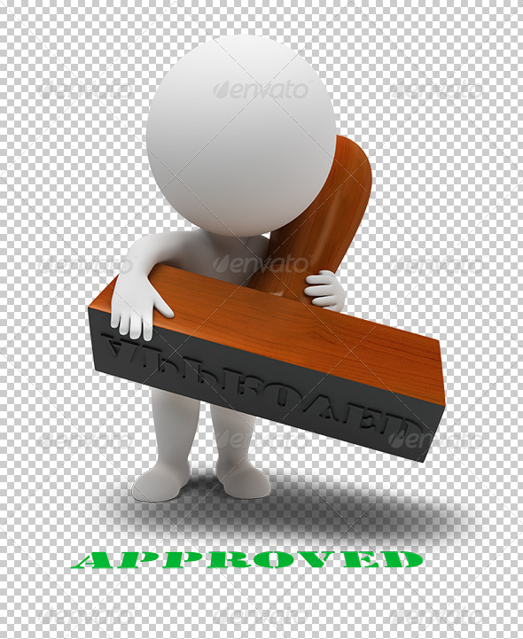GraphicRiver 3D small people approved stamp 5353628