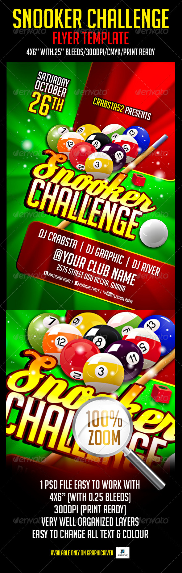 GraphicRiver Snooker Challenge Flyer Template 5354094