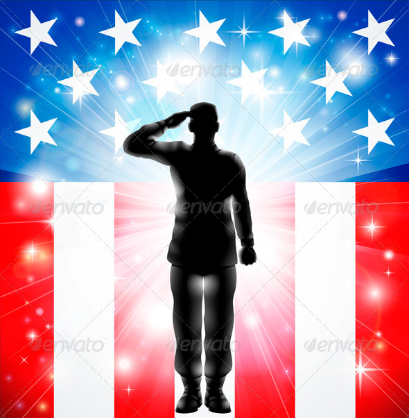 US Flag Military Armed Forces Soldier Silhouette  - People Characters