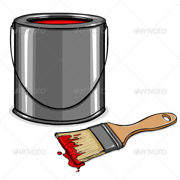 GraphicRiver Vector Tin with Red Paint and Paint Brush 5355331