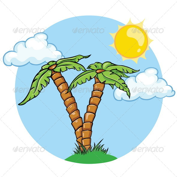 GraphicRiver Vector Two Palm Trees Sun and Clouds 5355547