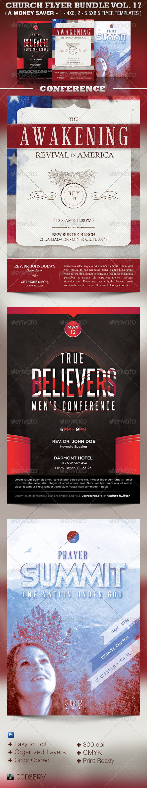 Church Flyer Template Bundle Vol 17: Conventions - Church Flyers