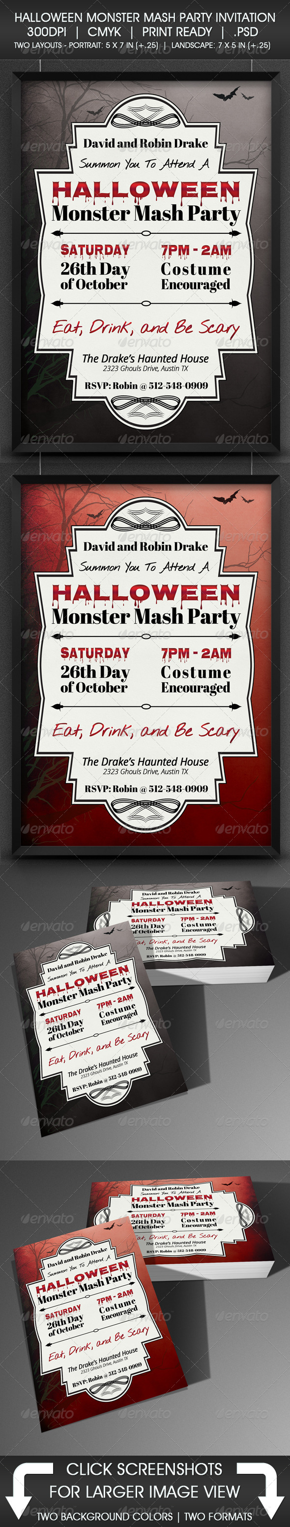 GraphicRiver Halloween Monster Mash party Invitation 5357013