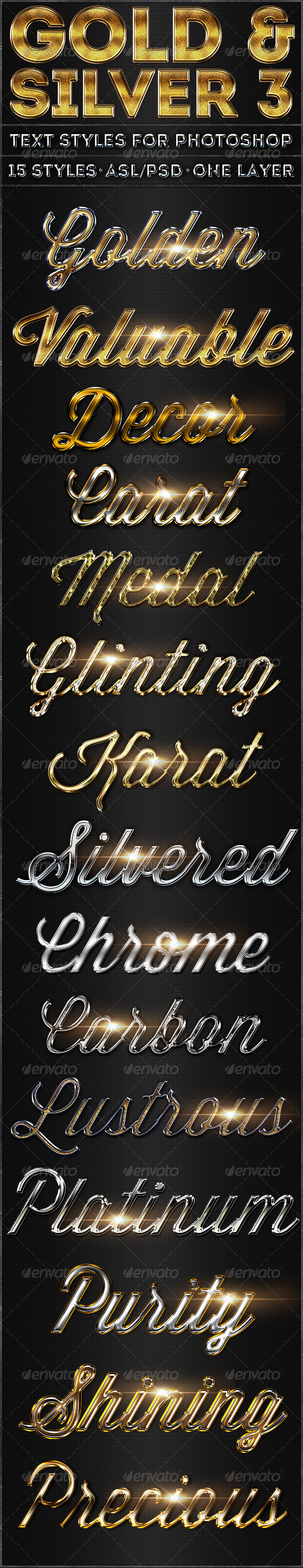 Gold & Silver 3 - Text Styles - Text Effects Actions