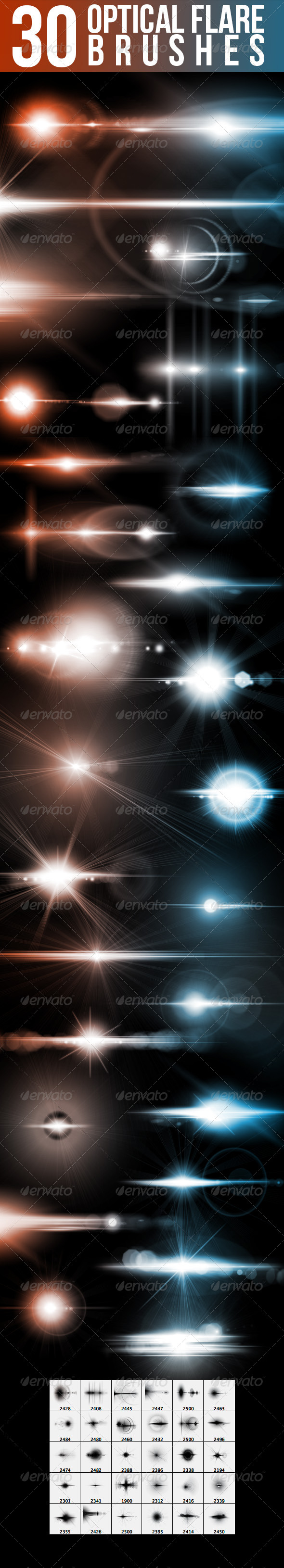 GraphicRiver 30 Optical Flare Brushes 5358850