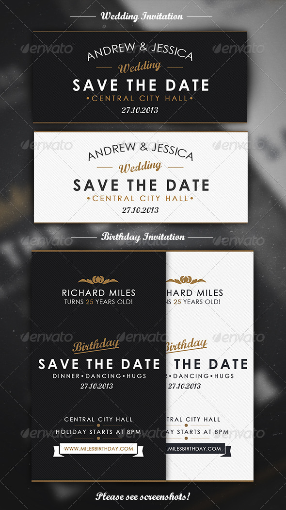 Elegant Invitation Mini Pack - Cards & Invites Print Templates