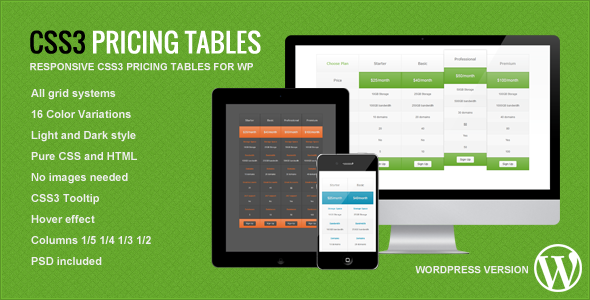 CodeCanyon Responsive CSS3 Pricing Tables for WordPress 5359126