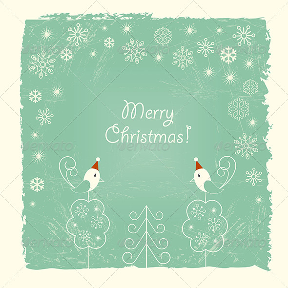 GraphicRiver Retro Christmas Card with Snowflakes and Birds 5359159