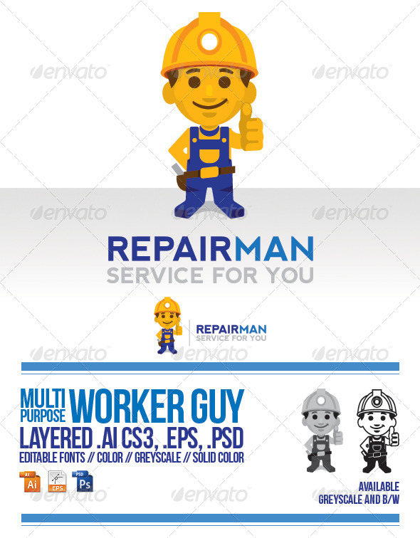 GraphicRiver Worker Guy Logo Template 5323843