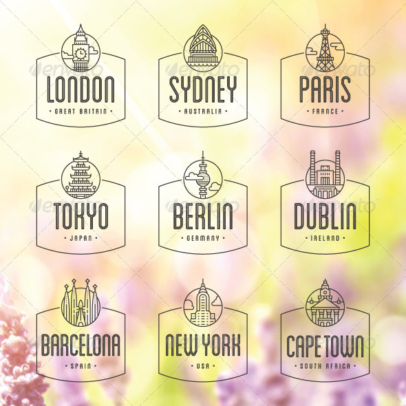 GraphicRiver 9 International Cities Badges and Stamps 5356996