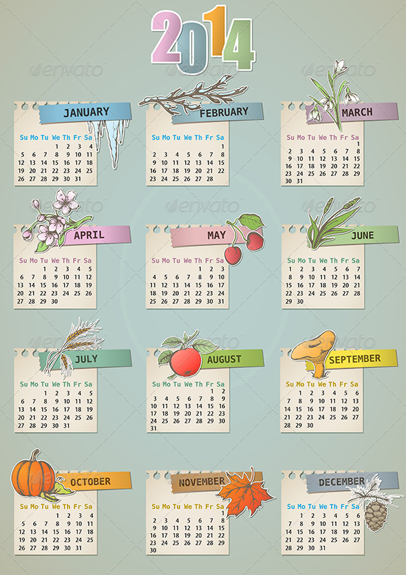 GraphicRiver Vintage Hand Drawn Calendar 5359683