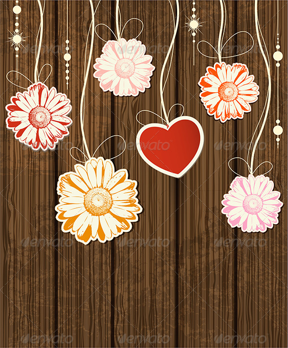 GraphicRiver Background with Heart and Flowers 5359719