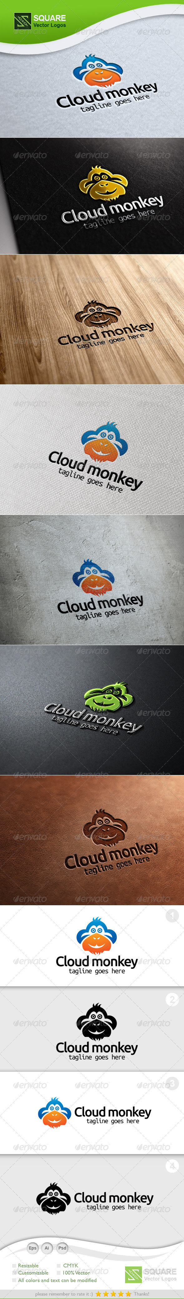 Monkey, Cloud Vector Logo Template - Animals Logo Templates
