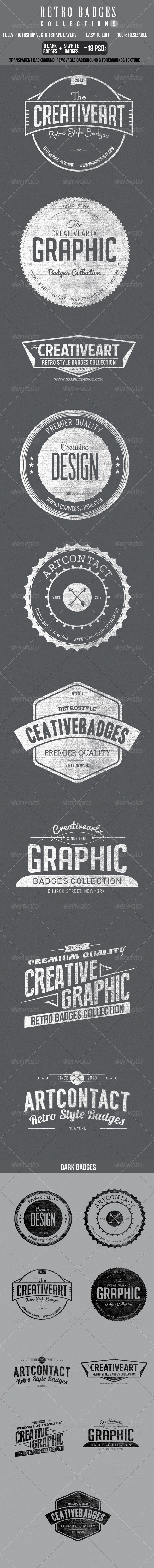 Retro Bagdes col 9 - Badges & Stickers Web Elements