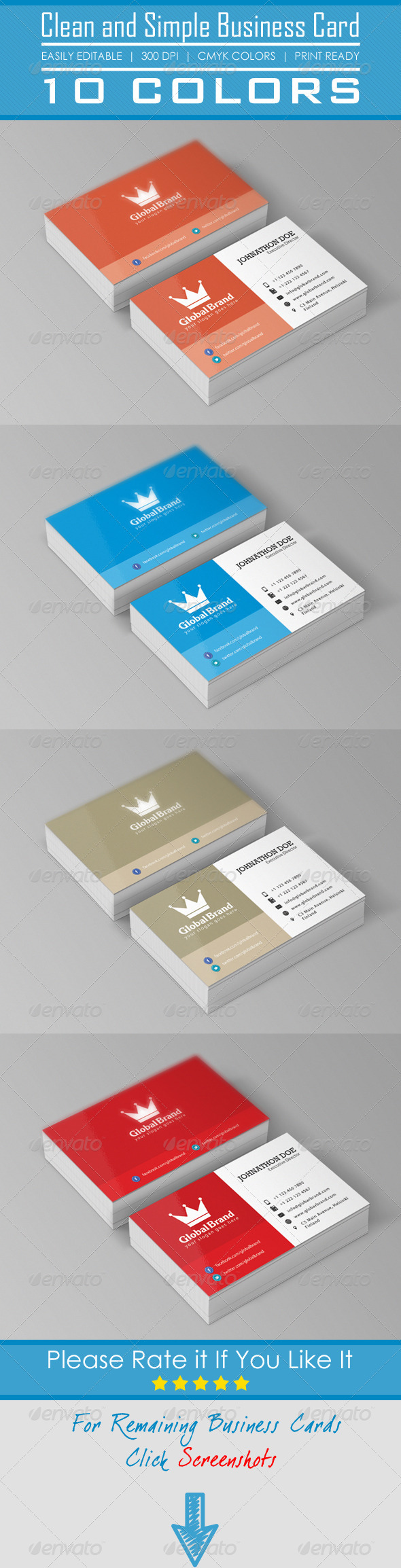 Clean and Simple Business Card - Corporate Business Cards