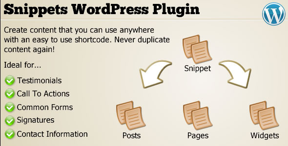 Snippets WordPress Plugin - CodeCanyon Item for Sale