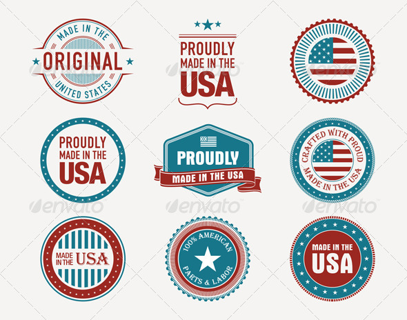 GraphicRiver 9 Made in USA Badges Stamps Seals 5360858