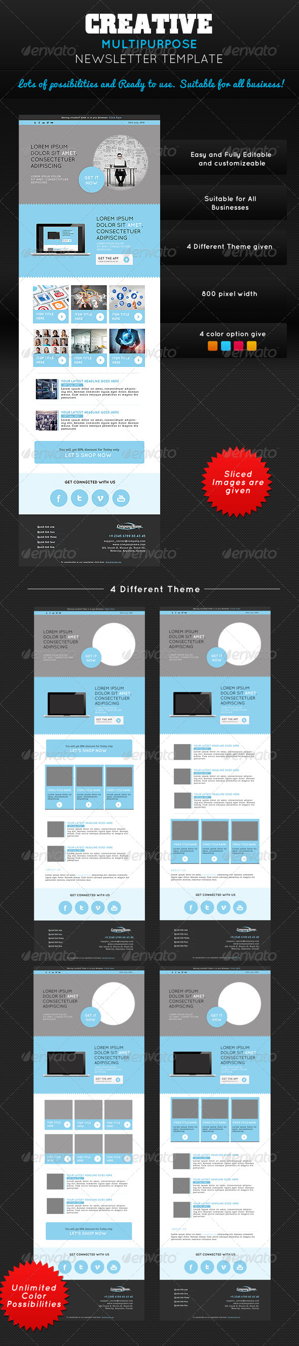 GraphicRiver Creative Multipurpose Newsletter PSD Template 5361450