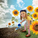 Little Sunflower Gardener Girl in Nature - PhotoDune Item for Sale