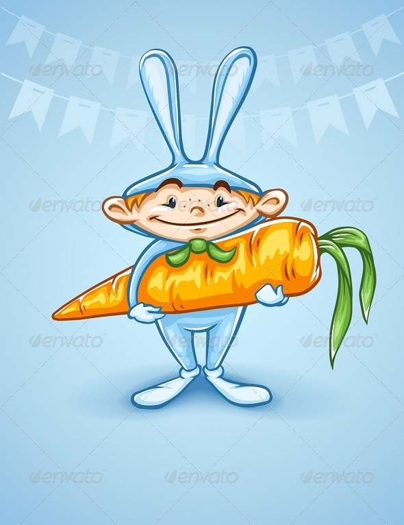GraphicRiver Happy Little Boy in Rabbits Costume with Carrot 5365826
