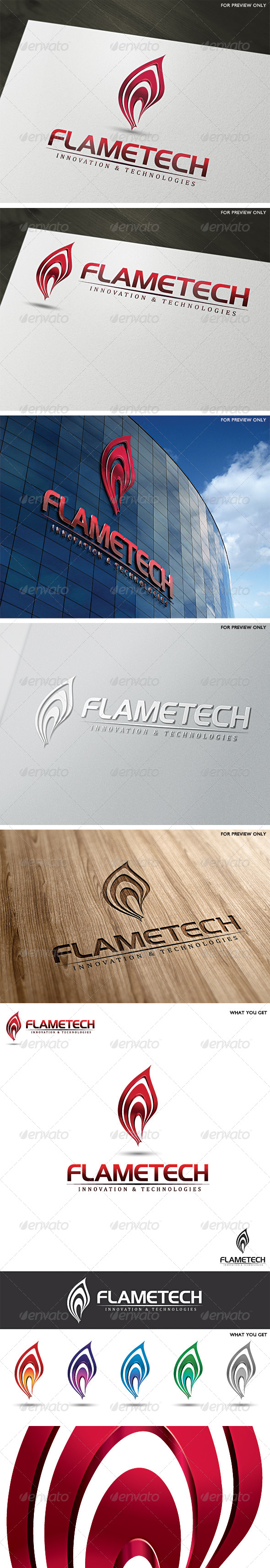 3D Fire Flame Logo Template - 3d Abstract