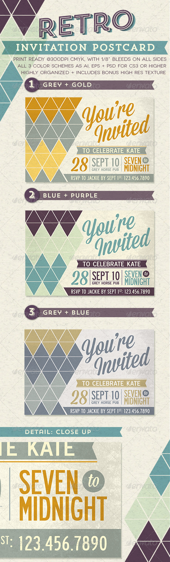 GraphicRiver Retro Invitation Postcard 5370054