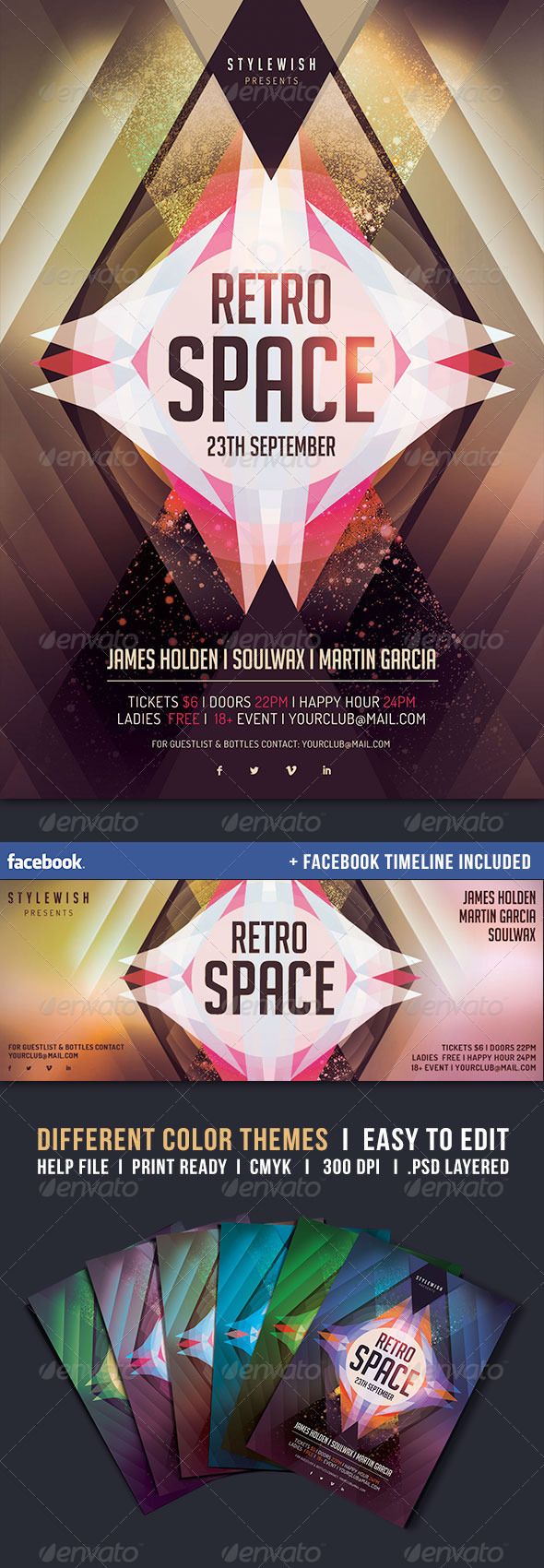 GraphicRiver Retro Space Flyer & Fb Timeline 5288912
