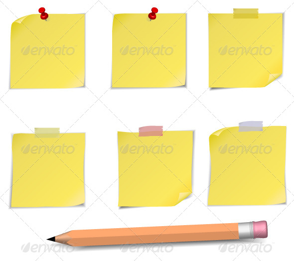 GraphicRiver Adhesive Notes and Pensil 5372052