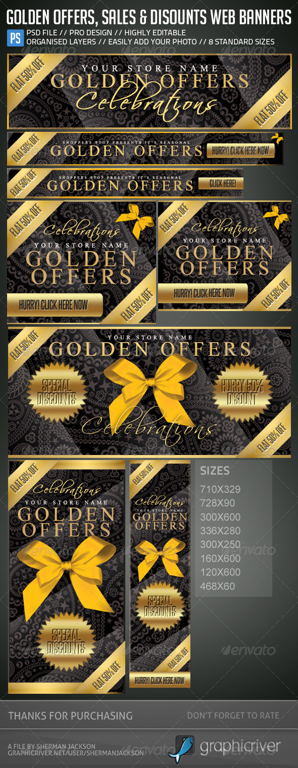 GraphicRiver Golden Offers Sales & Discounts Web Banners 5372235
