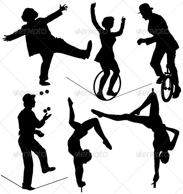 GraphicRiver Circus Artist Silhouette 5372252