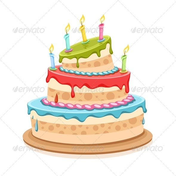 GraphicRiver Sweet Birthday Cake with Candles 5372738