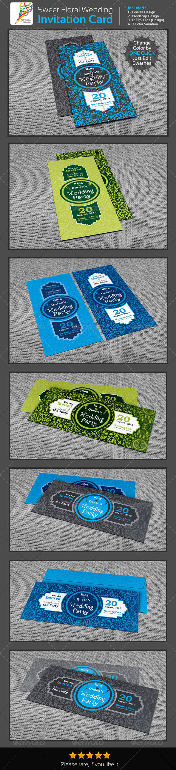 GraphicRiver Sweet Floral Wedding Engagement Party Invitation 5373420